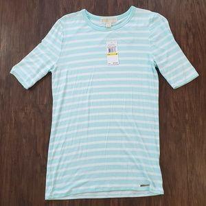 🆕Michael Kors Pale Turquoise Sea 3/4 Sleeve Shirt